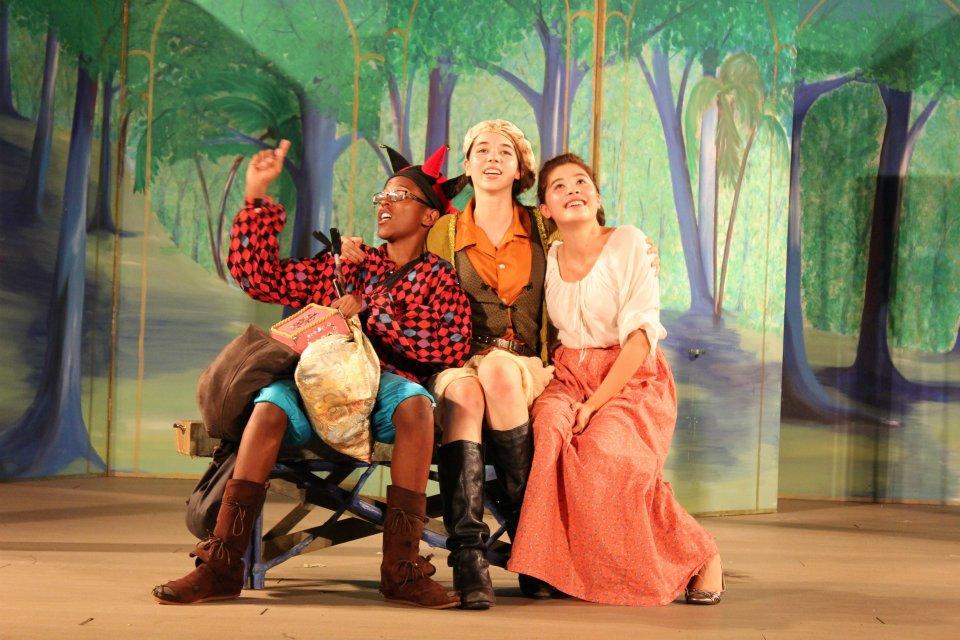 High school actors perform in the woods