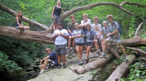 Summer camp campers on a hike in Shenandoah