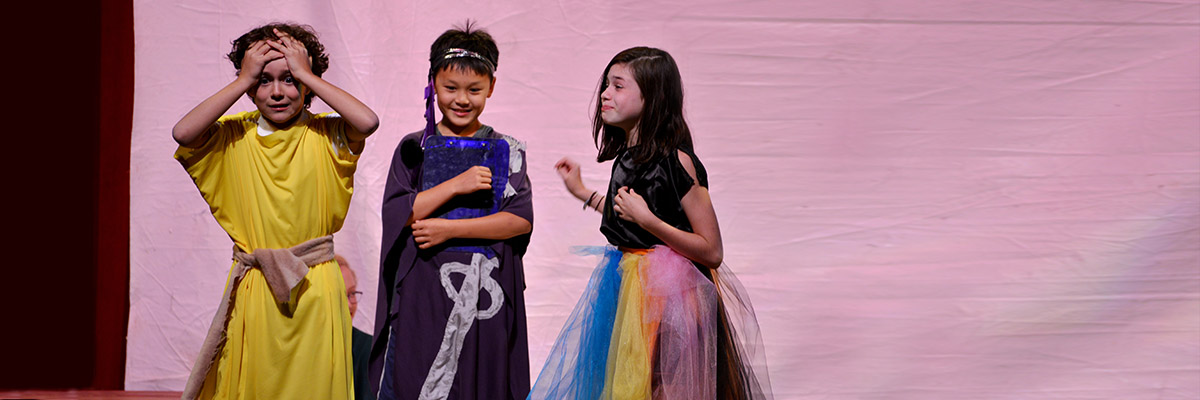 elementary school mythology campers perform