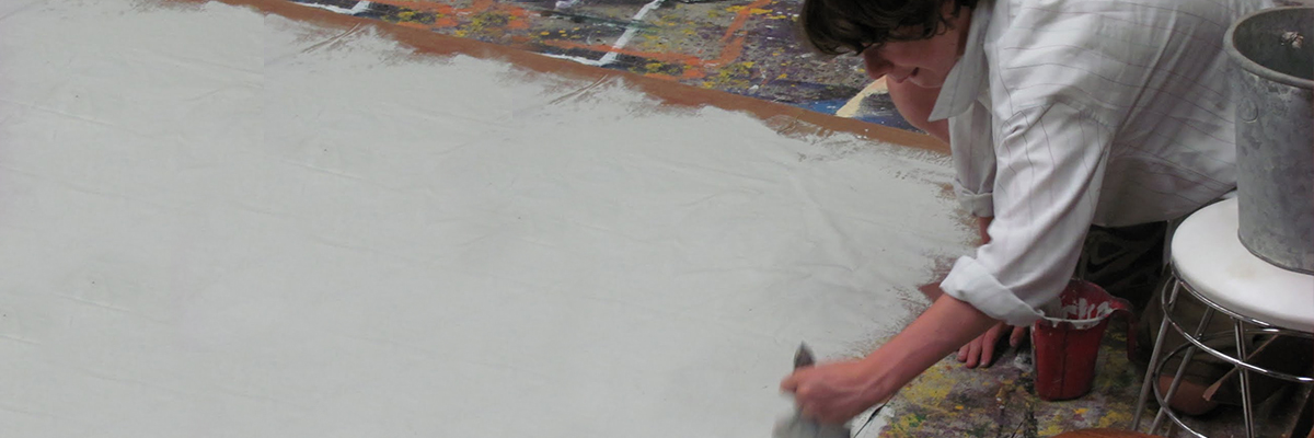 scene painting - prepping a groundcloth for pain